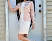 50's Cashmere Cardigan Beaded Ballet Pink