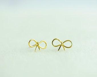 Gold Ribbon Earrings. Little Bow Earrings in Gold. Tiny Bow Earrings in Gold. Ribbon Post Earrings.