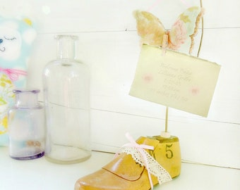 Child's Vintage Wood Shoe Form Butterfly Picture Holder Upcycled Home Decor