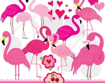 Pink Flamingo,Flamingo clipart,Valentine's Day digital clipart-Personal and Commercial Use-paper crafts,card making,scrapbooking,web design