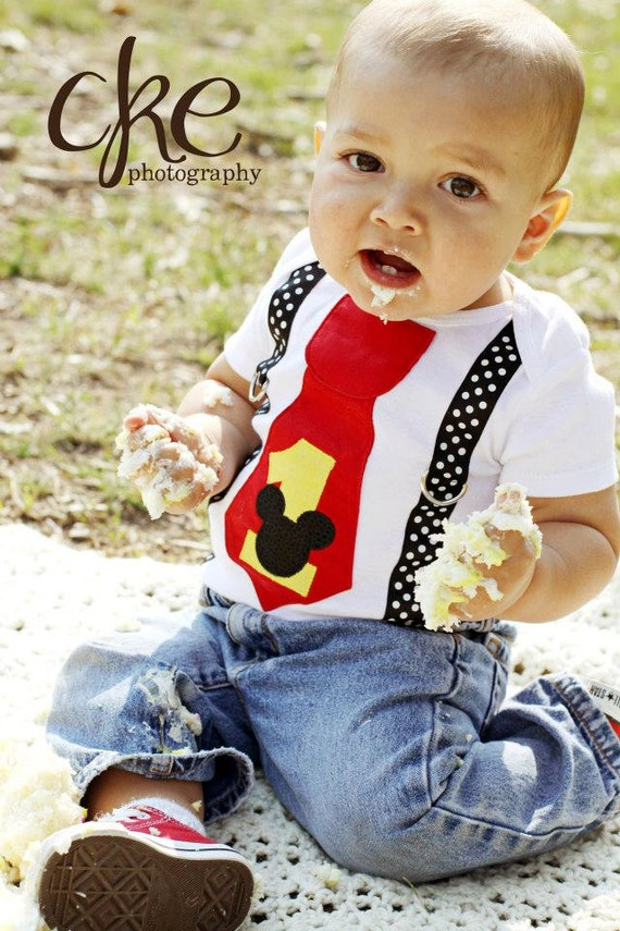 Mickey Mouse First Birthday Outfit READY TO SHIP! Mickey 1st Birthday Shirt, Boys Cake Smash, Boys Tie Suspenders Bodysuit, Mickey Party