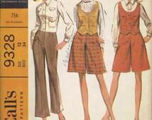 McCall's 60s Sewing Pattern Culottes Gauchos Pants Pantskirt Vest Blouse Long Sleeve Shirt Button Front Bust 34