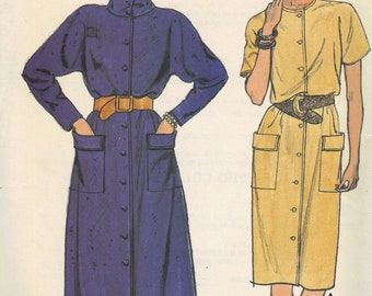 Butterick 80s Sewing Pattern Shirt Dress Button Front New Wave Style Straight or Flared Blouson Bodice Long Short Sleeves Uncut Bust 36
