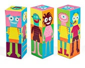 Monsters Blocks - PRINTABLE PDF Toy - DIY Craft Kit Paper Toy - 3 paper blocks - Heads, Arms and Legs  - Birthday Party Favor
