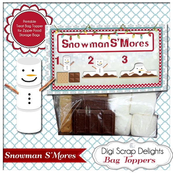 Snowman SMores Printable Bag Topper Gifts for