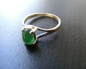 15% Off Sale.S182 New Sterling Silver Simple Band With 2 carat  Natural Emerald Cabochon Gemstone