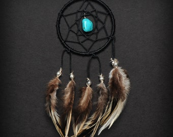 Black Turquoise Stone Car Mirror Dream Catcher, Small dreamcatcher, Tiny Dream Catcher, Small Black Dreamcatcher, Car Dreamcatcher Gift