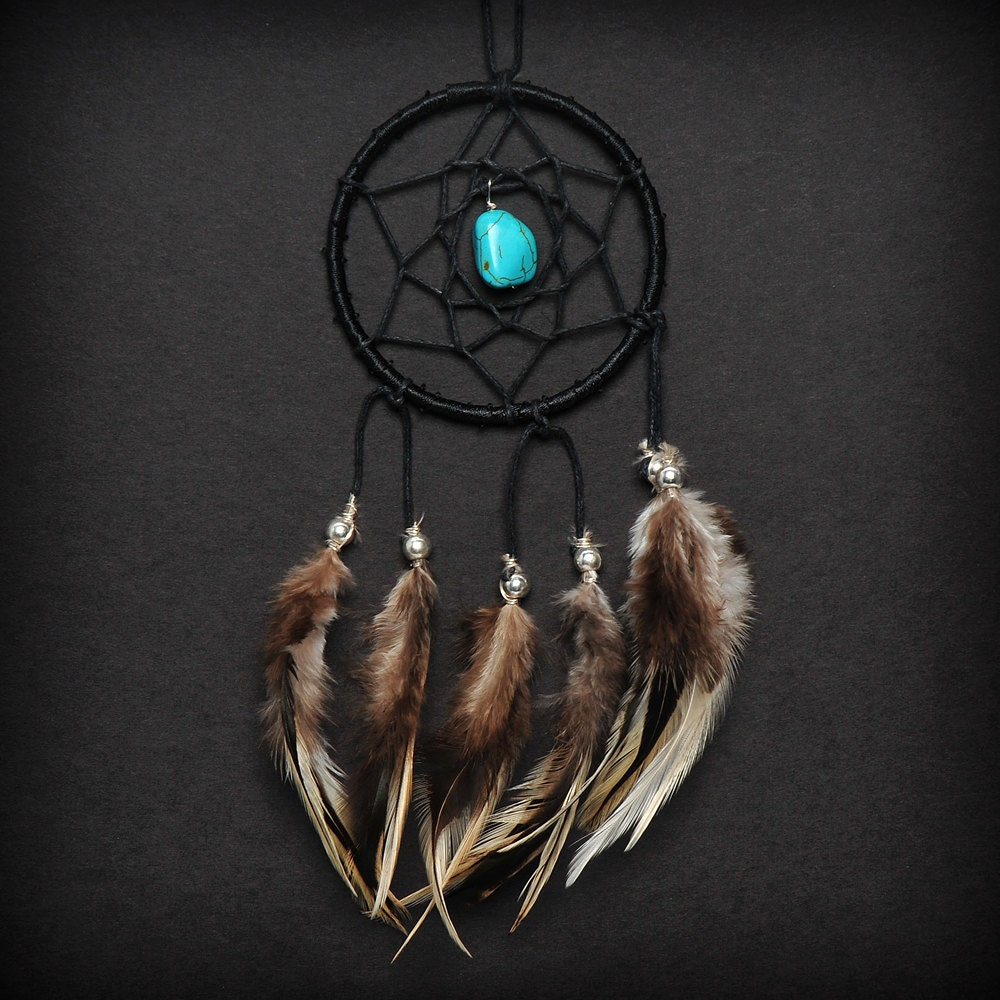 Pictures Of Dream Catchers: Black Turquoise Stone Car Mirror Dream Catcher Mini