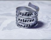 Children's Names Personalized Stamped Aluminum Swirl Ring, Mother's Gift