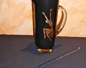 Beautiful Art Deco Black Glass Pitcher With Gold Dancer Design and Glass Stirrer