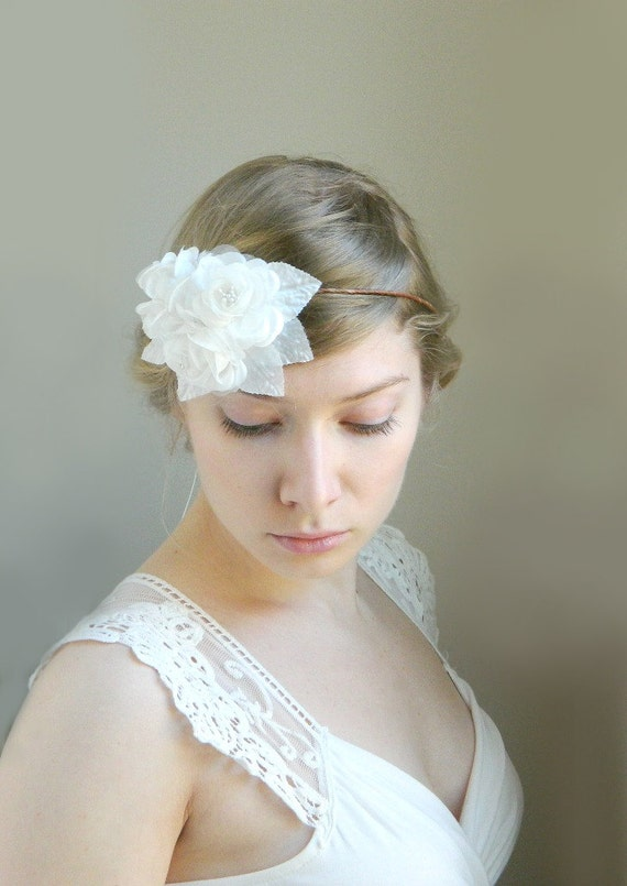 SALE White 'Elsbeth' Rose Garden Wedding Hair Accessory - Silk and Organza Roses and Leaves