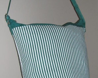 90's STRIPED Seventeen BUCKET Purse // Green White Bag Tote Beach Saved by the Bell CROSSBODY