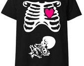 M Halloween Costume Rib Cage & Baby Skeleton Maternity T-Shirt in Black / White / Hot Pink - Size Medium