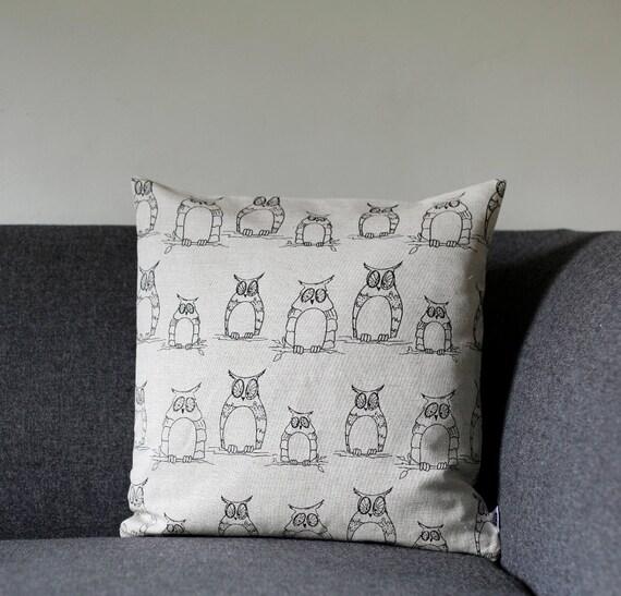 SALE Owl Linen pillow cover - decorative covers - sham - throw pillows - black owl stories - 16x16