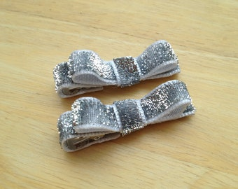Set of small silver glitter hair clips - silver baby bows, glitter bows, silver bows, baby bows, toddler bows, girls hair bows, hair bows