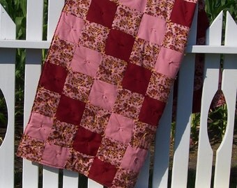 SALE Burgundy, Pink and Floral Print Patch Quilt