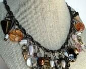 Peach & White Antique Brass Multi Charm Dangle Necklace