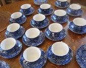 RESERVED FOR LISA (8) Blue Cups and Saucers- Blue Chintz- Royal Staffordshire Crownford