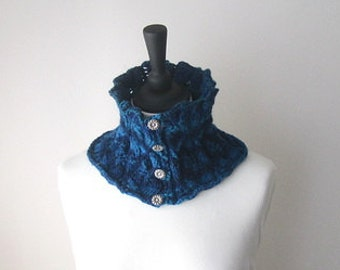 Royal blue cowl, button neckwarmer, blue neckwarmer, Winter cowl, Winter accessories, ladies cowl, ladies neckwarmer, cosy cowl, uk knits