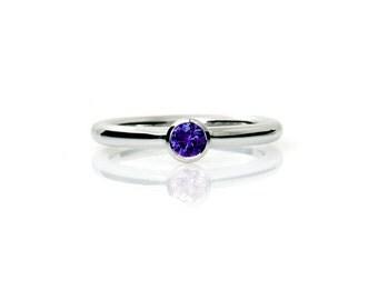Blue Sapphire ring, Palladium, sapphire engagement ring, bezel, solitaire, palladium engagement, Blue engagement, Sapphire engagement, thin