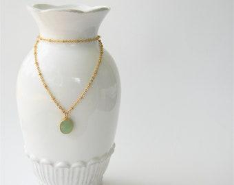 Gold Necklace - Stone Necklace - Long Necklace - Light Mint Glass Stone Pendant on Matte Gold Chain
