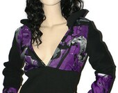 Black and purple hoodie, woman sweatshirt, woman hoodie, black hoodie, autumn hoodie, woman pullover, sweat, sweater