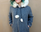 Vintage Grey Inuit Parka with Weather Resistant Shell, Polar Bear Detailing and Fox Fur Trim, Medium