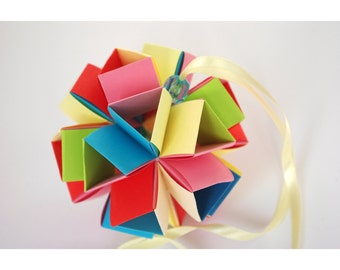 Christmas modern ornament - Holidays home decor - Origami paper ball  - Colorful - Modern holiday - Childrens Christmas. . Ready to ship