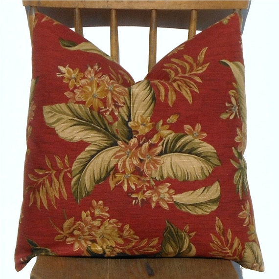 Vintage Inspired Hawaiian Print Pillow Cover//Decorative Throw