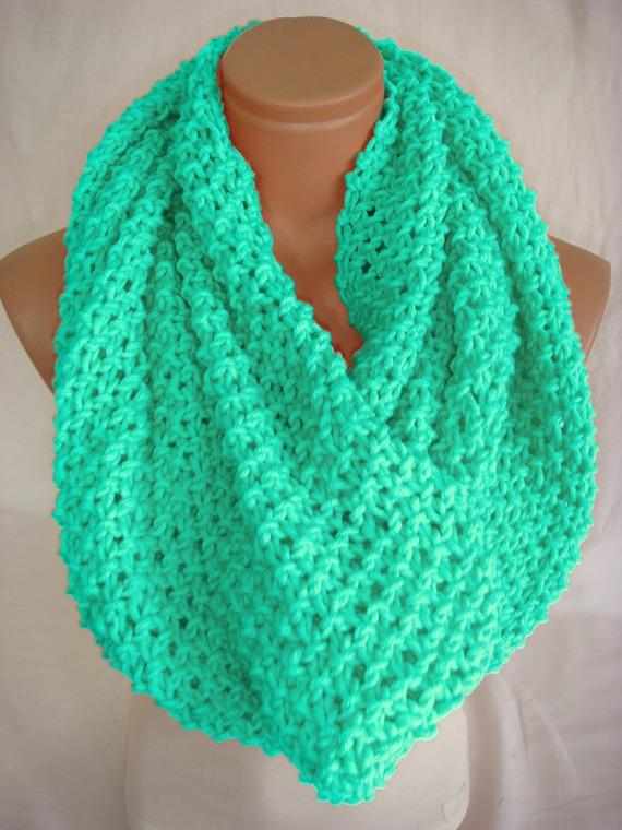 mint scarf salmon scarf handknit scarf knit cowl knit by arzus