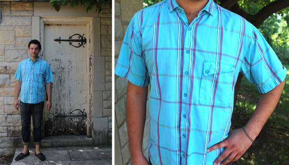 PIER PRESSURE 80s Vintage Madras Men's Plaid Shirt By