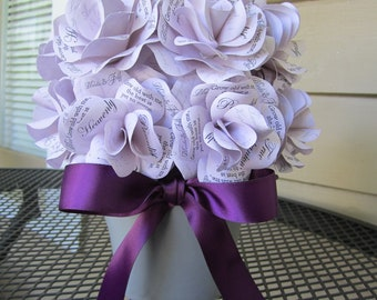Personalized Paper Rose Centerpiece in Purple and Gray Custom made for any Special Occasion