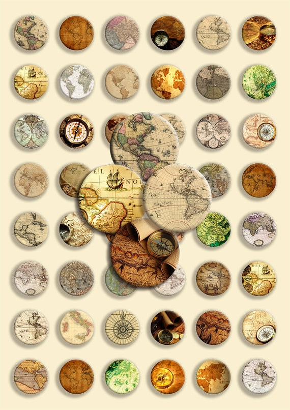 Instant Download - Antique maps & compass - 48 Circle Shape - Digital Collage -  JPG and PNG format - 1 inch - 25 mm