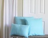 63% OFF - Solid Blue Pillow Covers - Light Blue Throw Pillows - Set of 3 - 20x20 Blue Throw Pillows - Waffleweave - Bolster - Lumbar Pillow