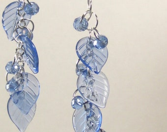 Blue Leaf and Crystal Long Earrings, iridescent blue crystals, silver post earrings, spring and summer fashion earrings