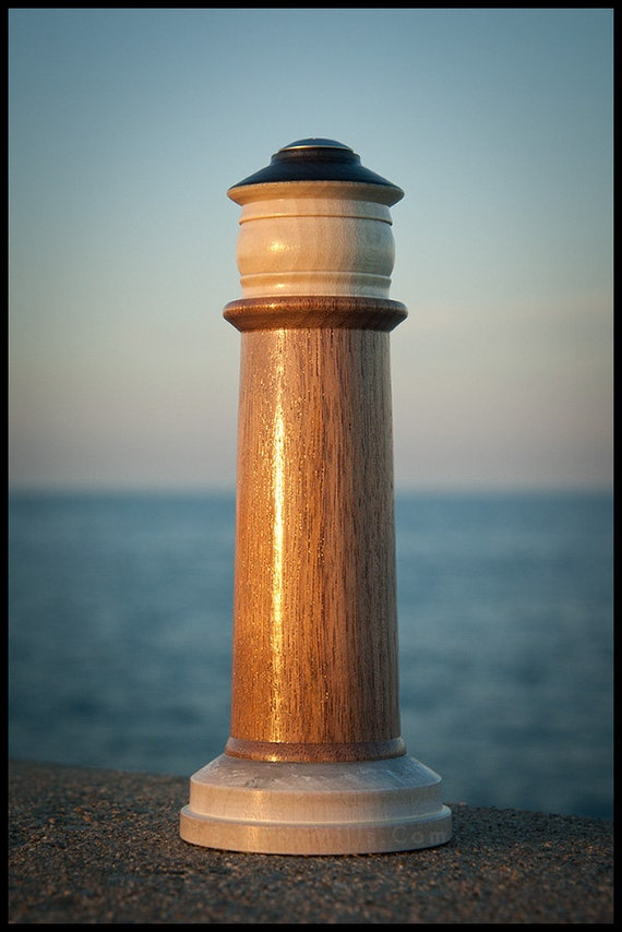 Lighthouse Salt Pepper Spice Shaker in Black Walnut with Lantern in American Holly on Hard Maple Base