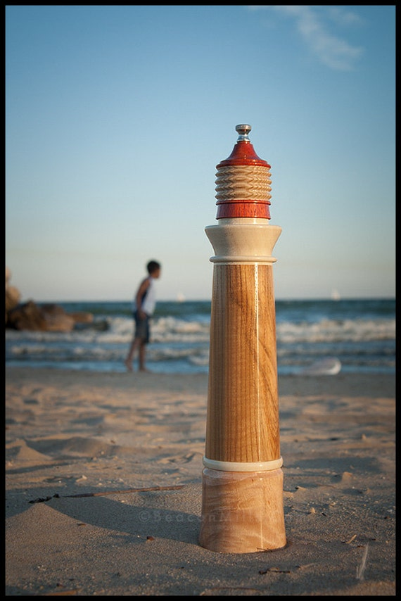 Lighthouse Pepper Mill in Olive Ash & Holly Details with Padauk Lantern and Ash Fresnel atop Marbleized Hard Maple Base