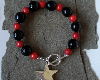 Black and Red Onyx Bracelet, The Star