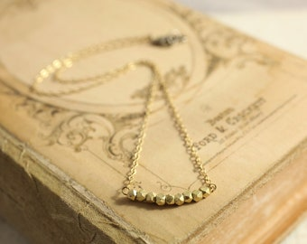 Delicate Gold Chain Necklace with Gold Nugget Beads