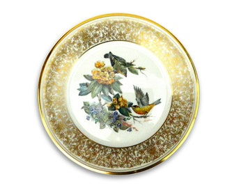 Lenox China Edward Marshall Boehm Goldfinch collectors plate gold border bird quality collectible vintage wildlife wall art home decor 1971