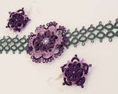 Tatting bracelet and earrings set in purple and green- Flower Lady in Purple - tatted lace bracelet and earrings  set