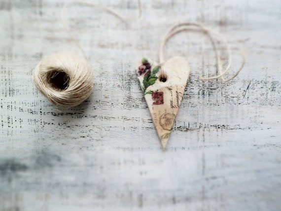 Rustic shabby chic heart home decor gift for couple vintage floral spring creamy ivory purple grey brown