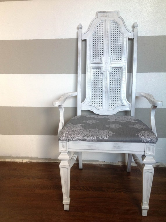Saved for Julianna-Distressed White Arm Cane Chair with Grey Damask Pattern