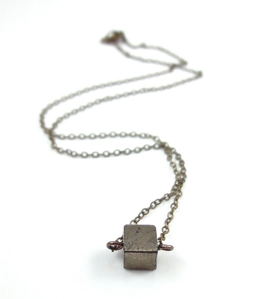 Pyrite Necklace Single Pyrite Cube Bead Dainty by ...