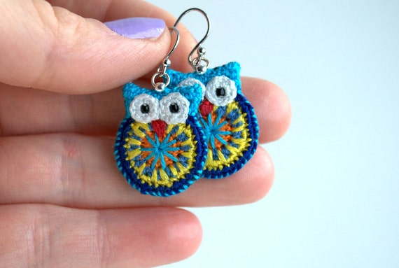 Owl earrings, crochet owl earrings