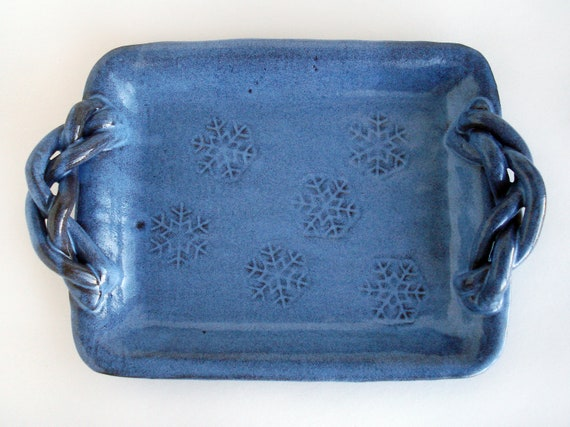 Blue Serving Platter Snowflake Pottery Tray Ceramic Holiday