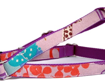 Cute lavender purple dog harness Girly woodland fabric pet harness for puppy small dogs to large dogs Unique step in dog harness dog leash