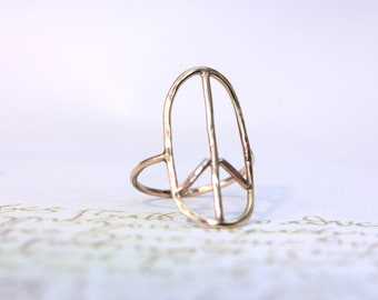 14 kt. yellow gold hand made PEACE ring