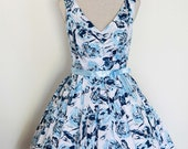 Blue Floral Bridesmaid Dress - Size Large