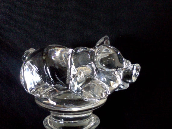 Cute Vintage Crystal Piglet Bottle Stopper Rare Collectible